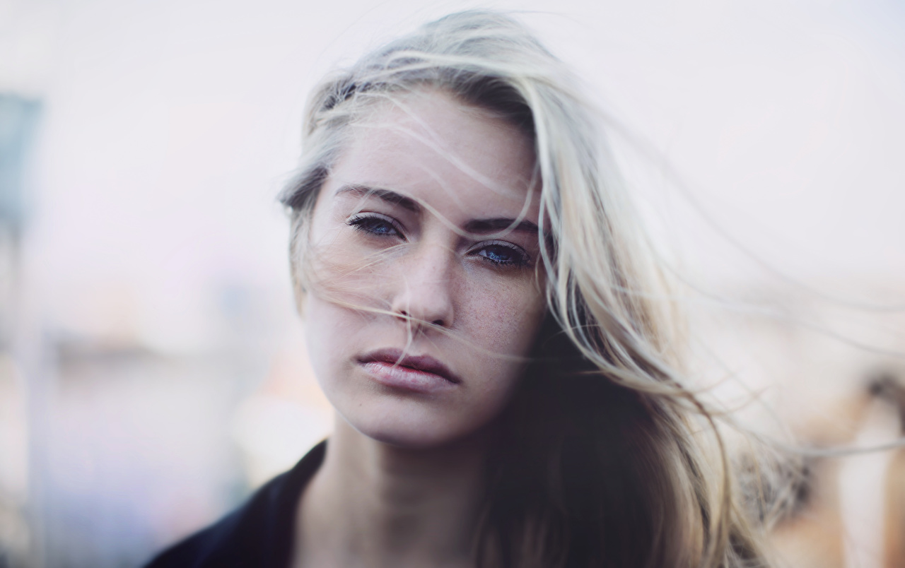 Photo Blonde girl Hair Face female Glance Girls young woman Staring