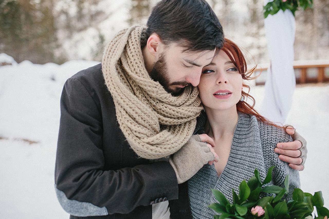 Bilder Mann Schal Zwei Liebe Umarmung Mädchens 2