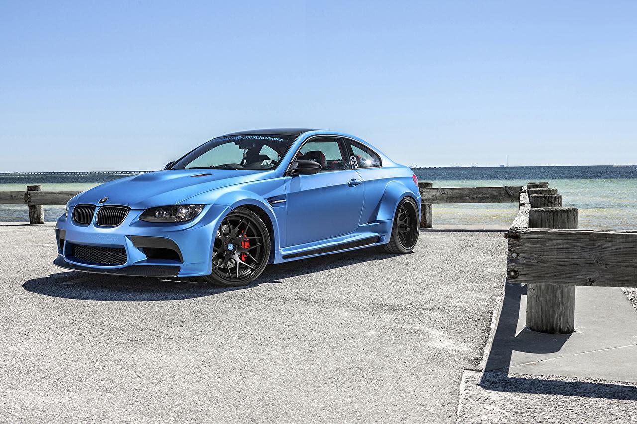 Desktop Wallpapers BMW Tuning 2014 Vorsteiner M3 GTRS3 Widebody (BMW M3 E92) Light Blue Cars Metallic auto automobile