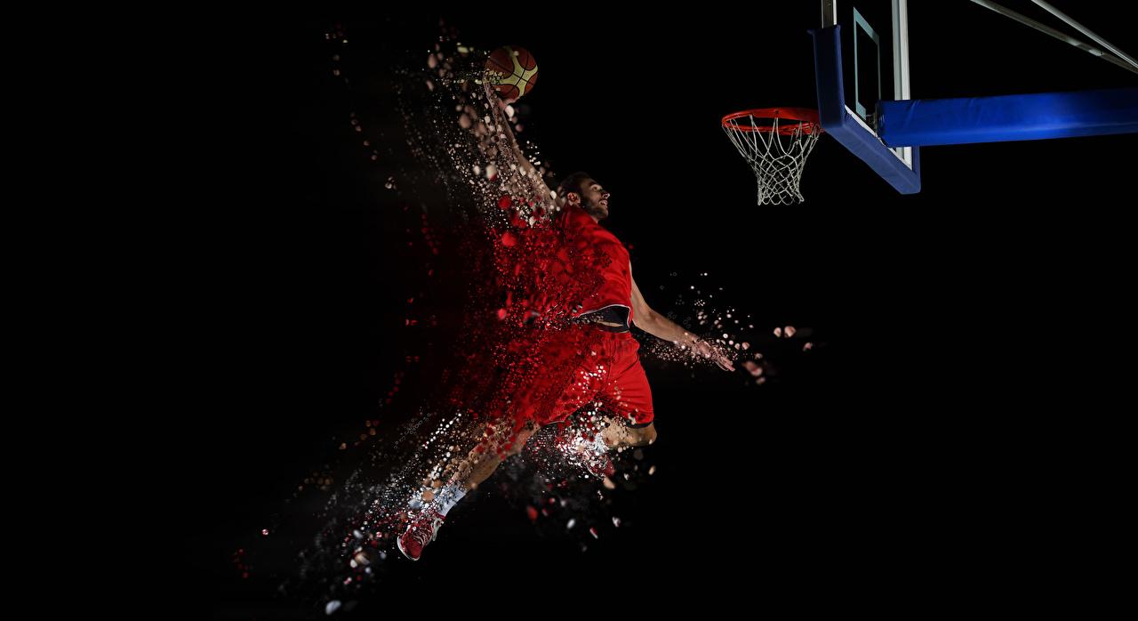 壁紙 バスケットボール 男性 黒色背景 飛び スポーツボール