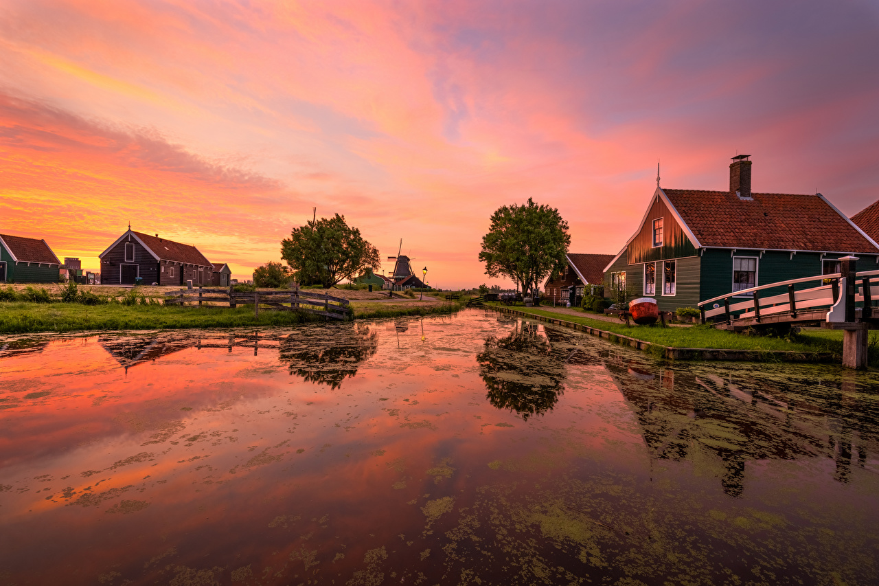 Photos Netherlands Zaanse Schans Canal Nature sunrise and sunset Evening Building Sunrises and sunsets Houses
