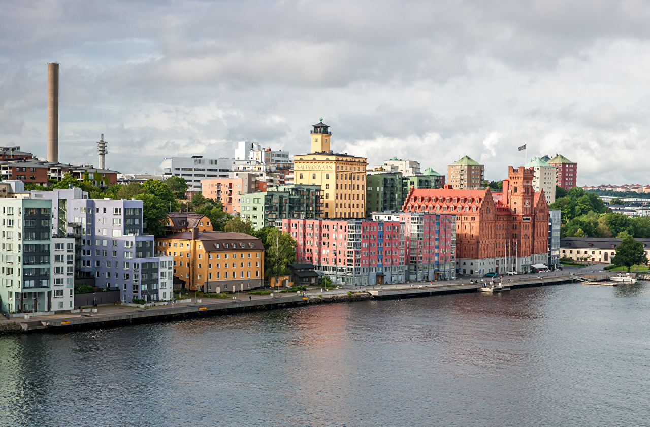 Desktop Wallpapers Stockholm Sweden Canal Marinas Cities Building Pier Berth Houses