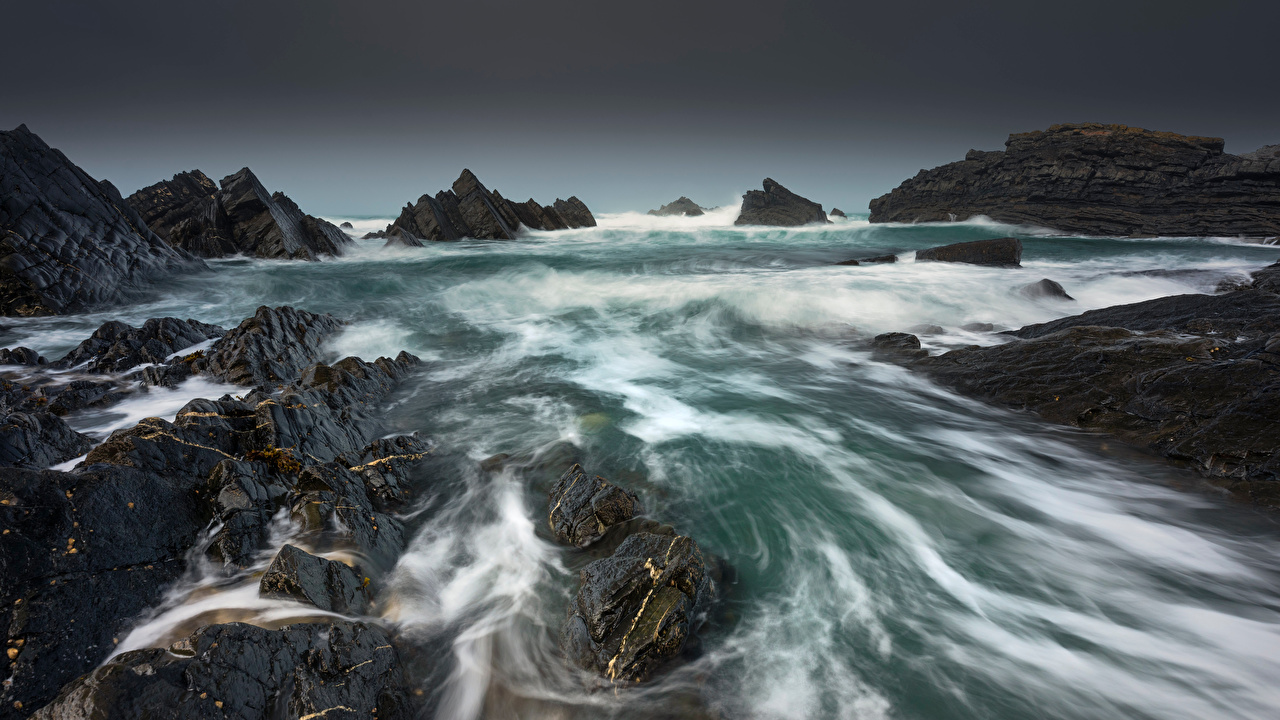 Photos England Devon Crag Nature Coast Rock Cliff