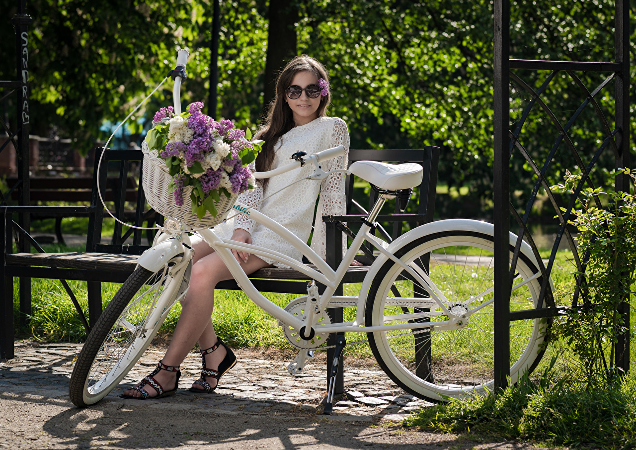 Desktop Wallpapers Kari Horkova bike Girls Lilac Wicker basket Bench Sitting eyeglasses Staring gown Bicycle bicycles female young woman Syringa sit Glasses Glance frock Dress