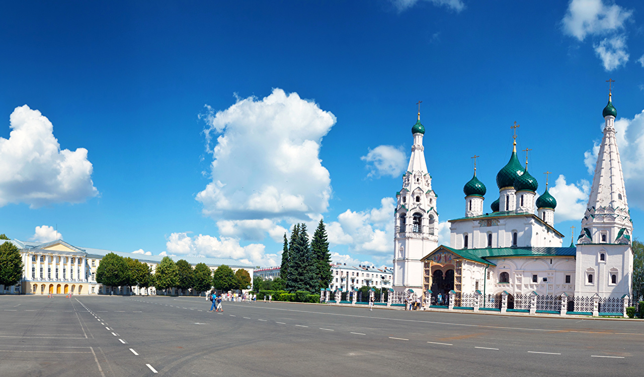 Russie Temple Routes Ciel Yaroslavl Nuage Villes