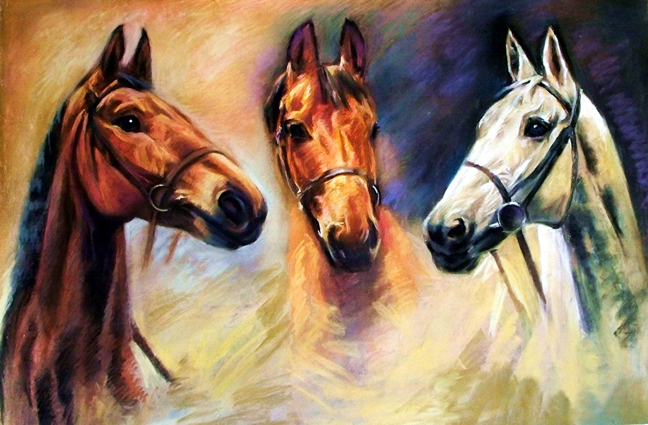 Afbeelding Paarden Schilderkunst Hoofd Dieren paard schilderij een dier