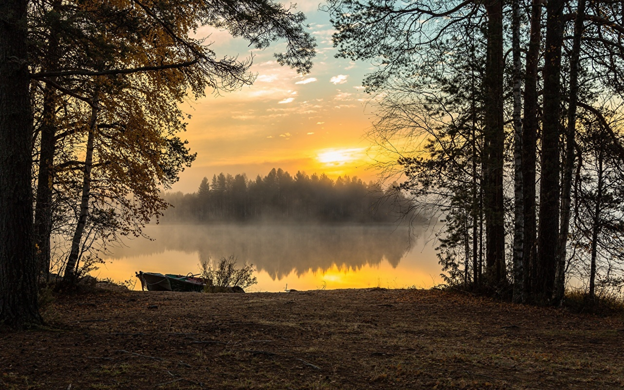Wallpaper Fog Autumn Nature Lake Sunrises and sunsets Boats Trees sunrise and sunset