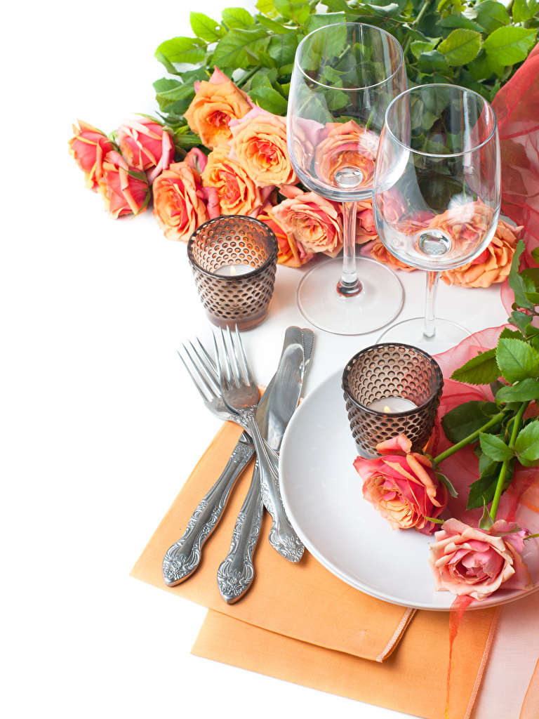 Wallpapers Knife Roses Flowers Food Fork Candles Stemware White background
