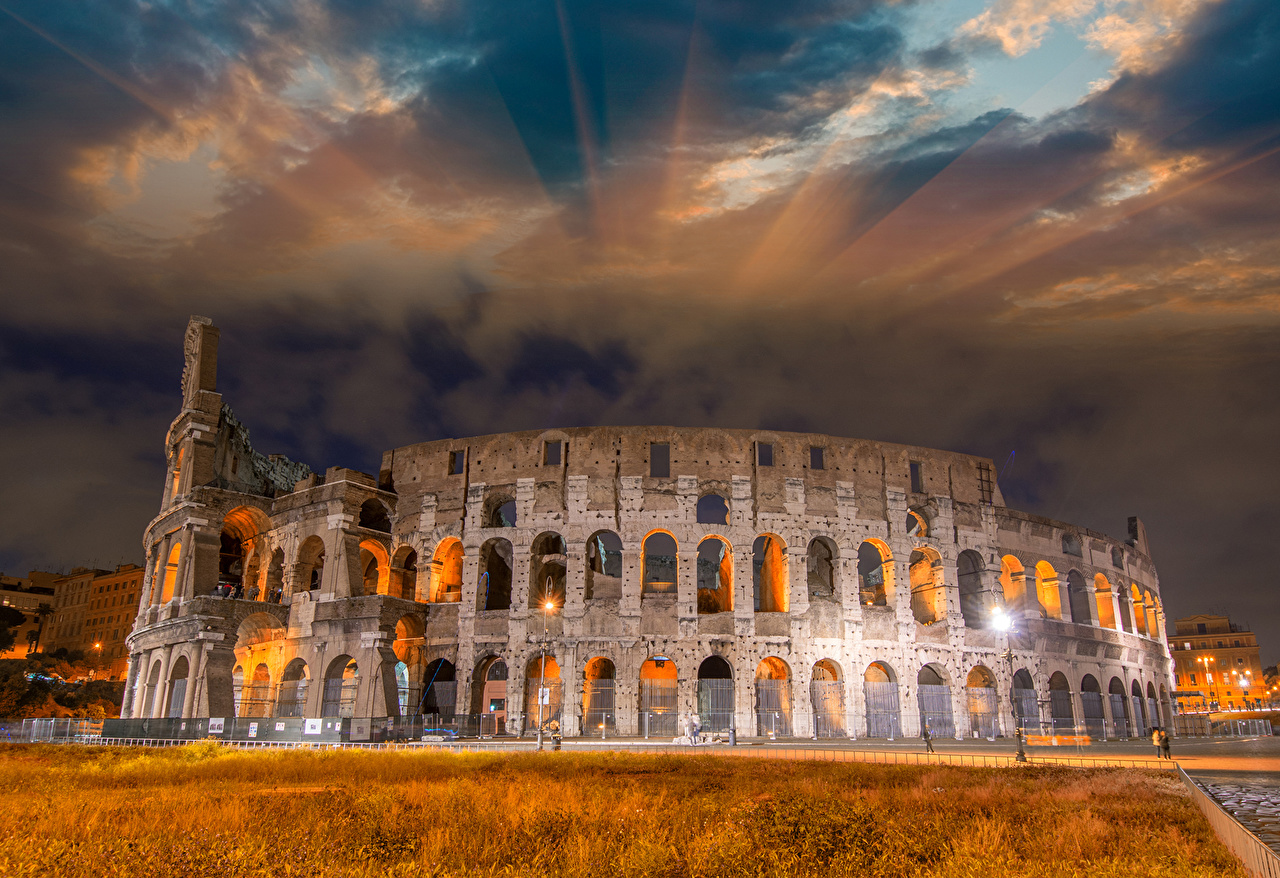 Photo Rome Colosseum Italy Arch Sky Ruins Cities Famous buildings