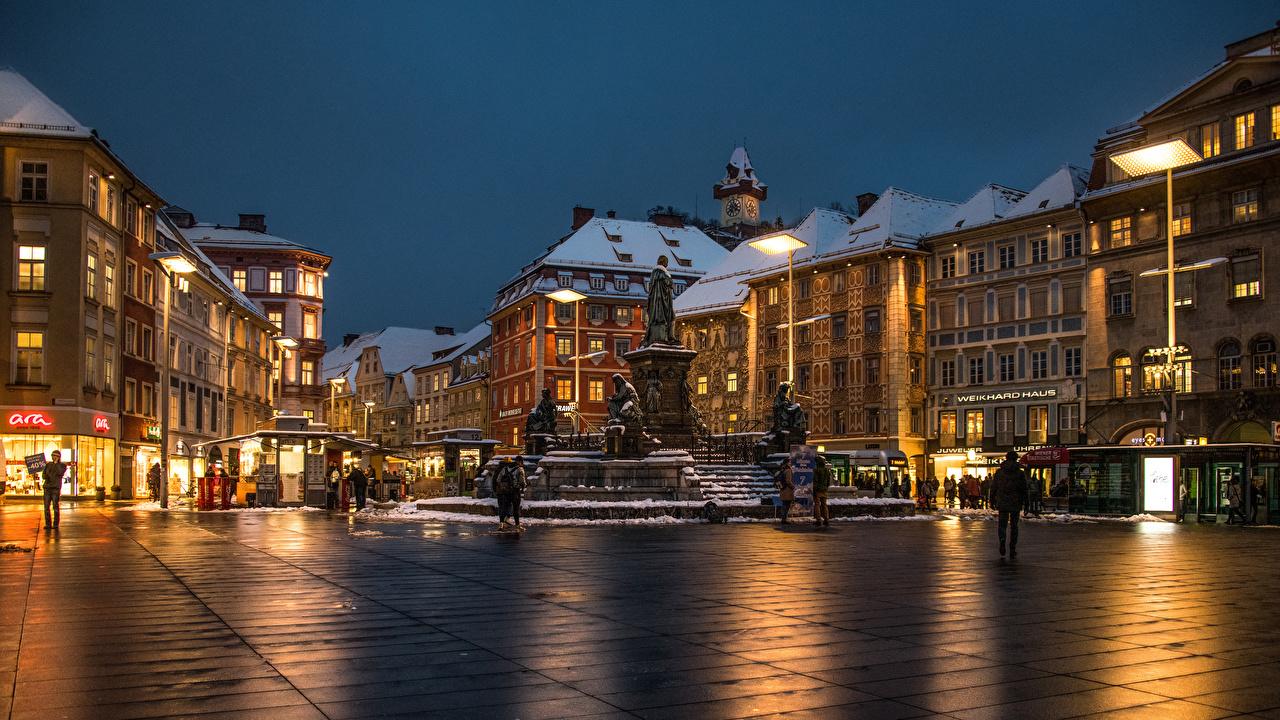 Fotos von Österreich Platz Graz Abend Städte Gebäude Haus