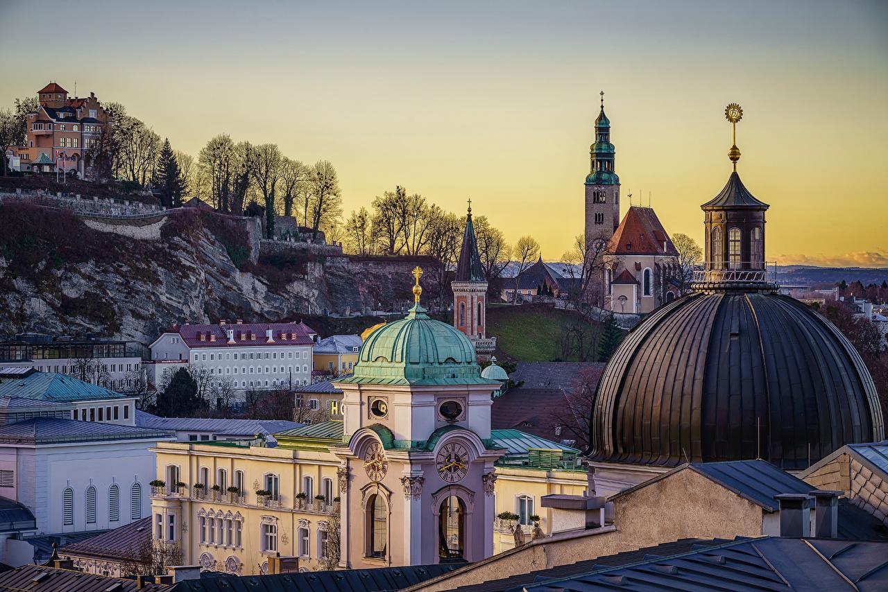 Photos Salzburg Austria domes Temples Houses Cities Dome temple Building