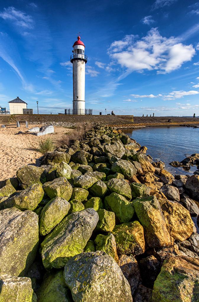 Desktop Wallpapers Netherlands Hellevoetsluis Lighthouses stone Cities  for Mobile phone Stones