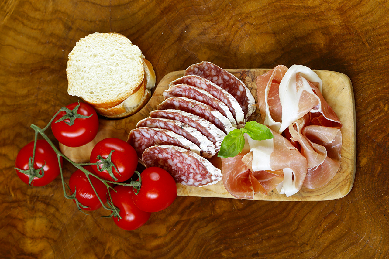 Pictures Sausage Tomatoes Ham Bread Food