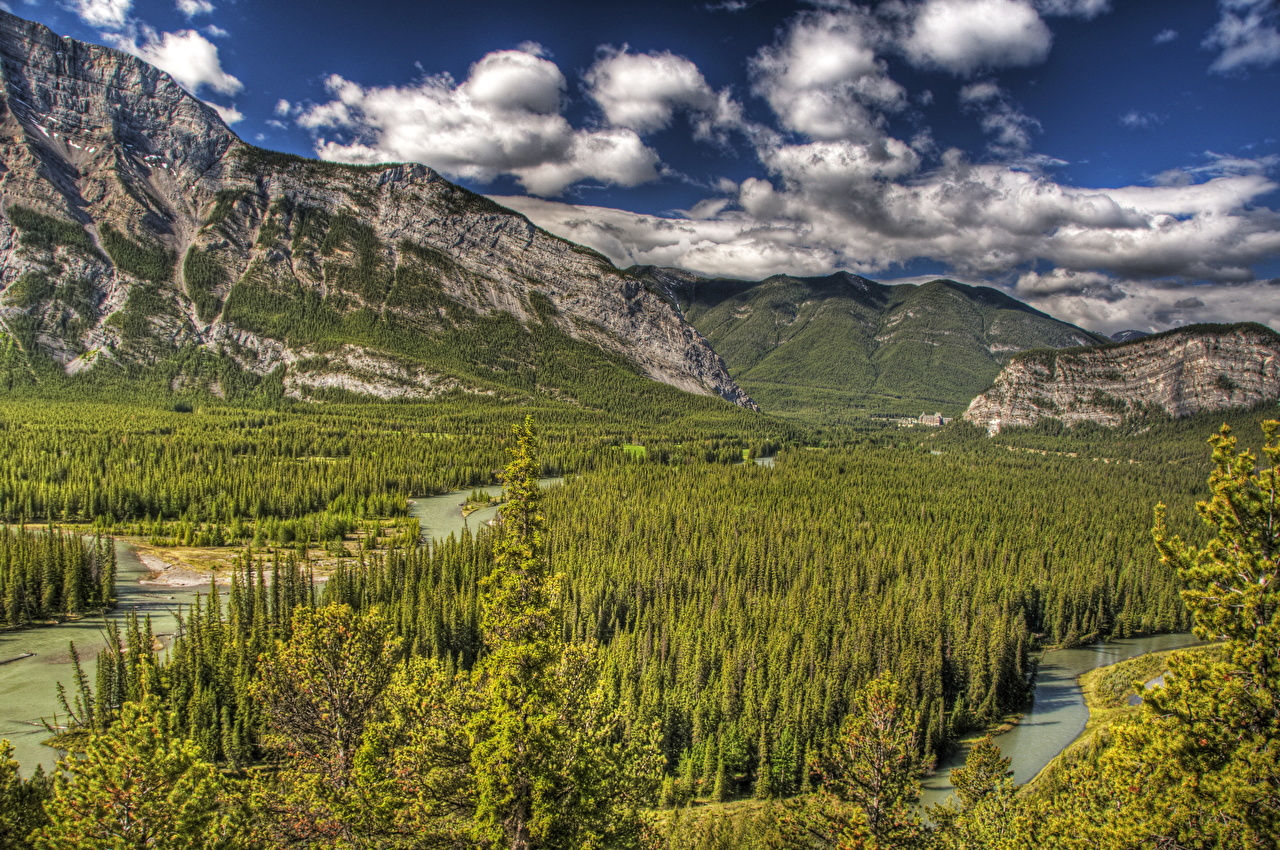 Wallpaper Banff Canada Alberta HDRI Nature Mountains park forest Scenery HDR mountain Parks Forests landscape photography