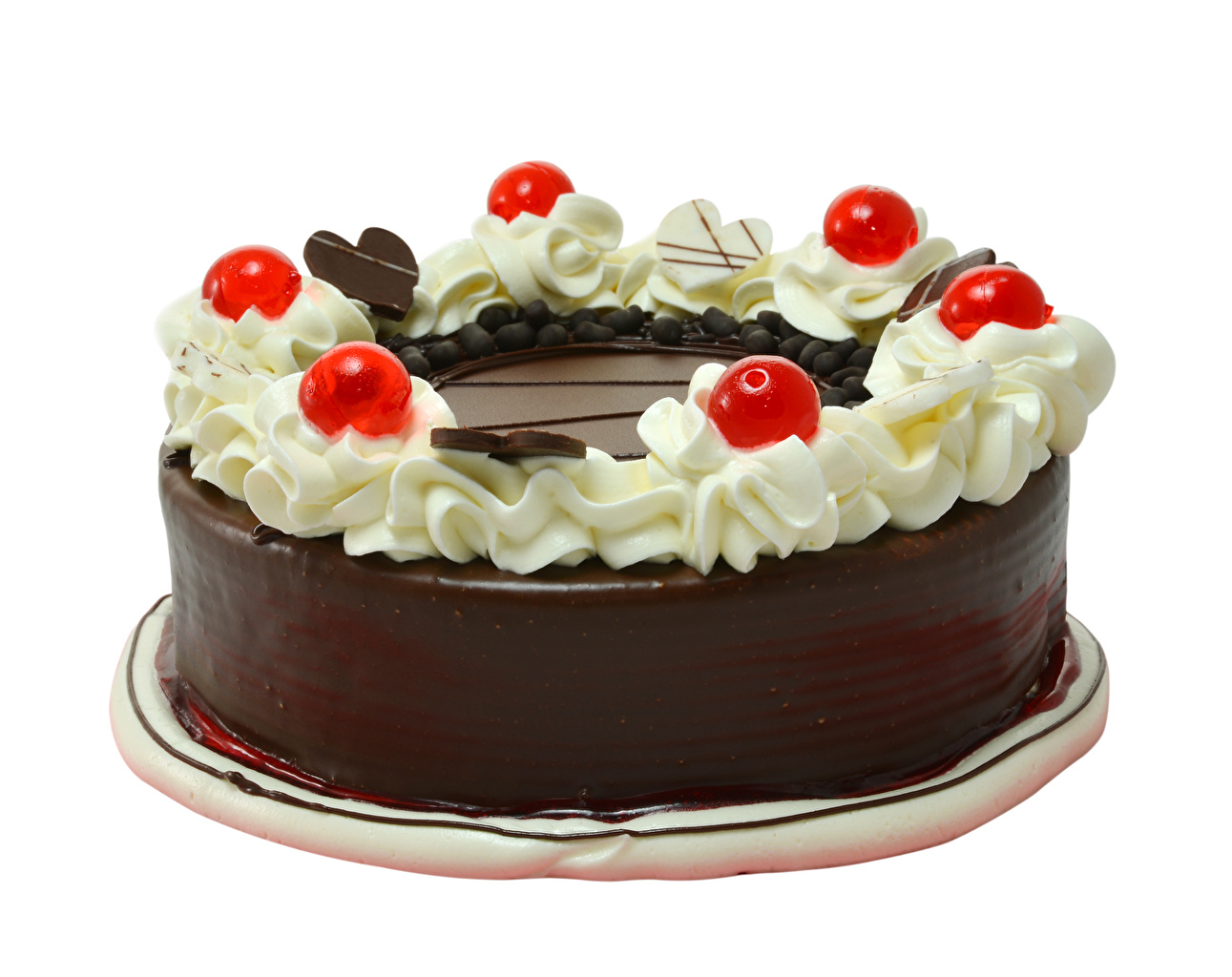 Picture Chocolate Cakes Food Berry White background Design Torte