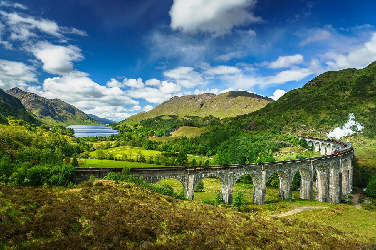 Bilder von Schottland Glenfinnan, Lochaber, steam train Natur Brücke Gebirge Himmel Landschaftsfotografie Wolke Berg Brücken