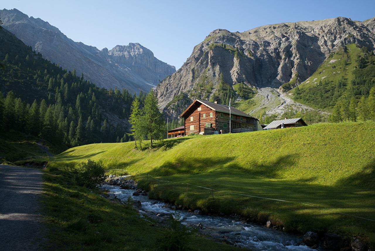 Bilder Alpen Schweiz Berg Natur Bäche Gebäude Bach Gebirge Haus