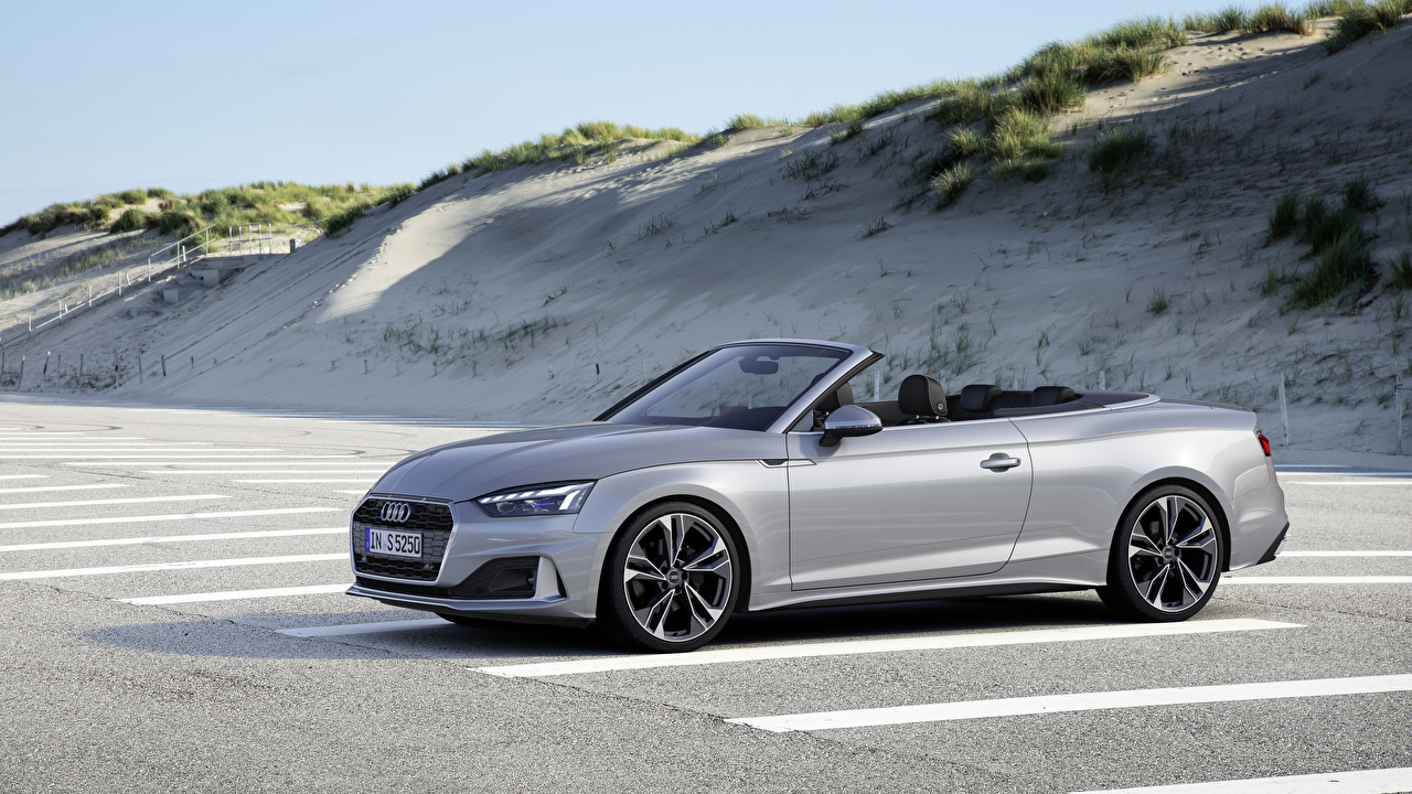 Picture Audi 2019 A5 40 TFSI Worldwide parked Convertible Silver color Cars Parking Cabriolet auto automobile