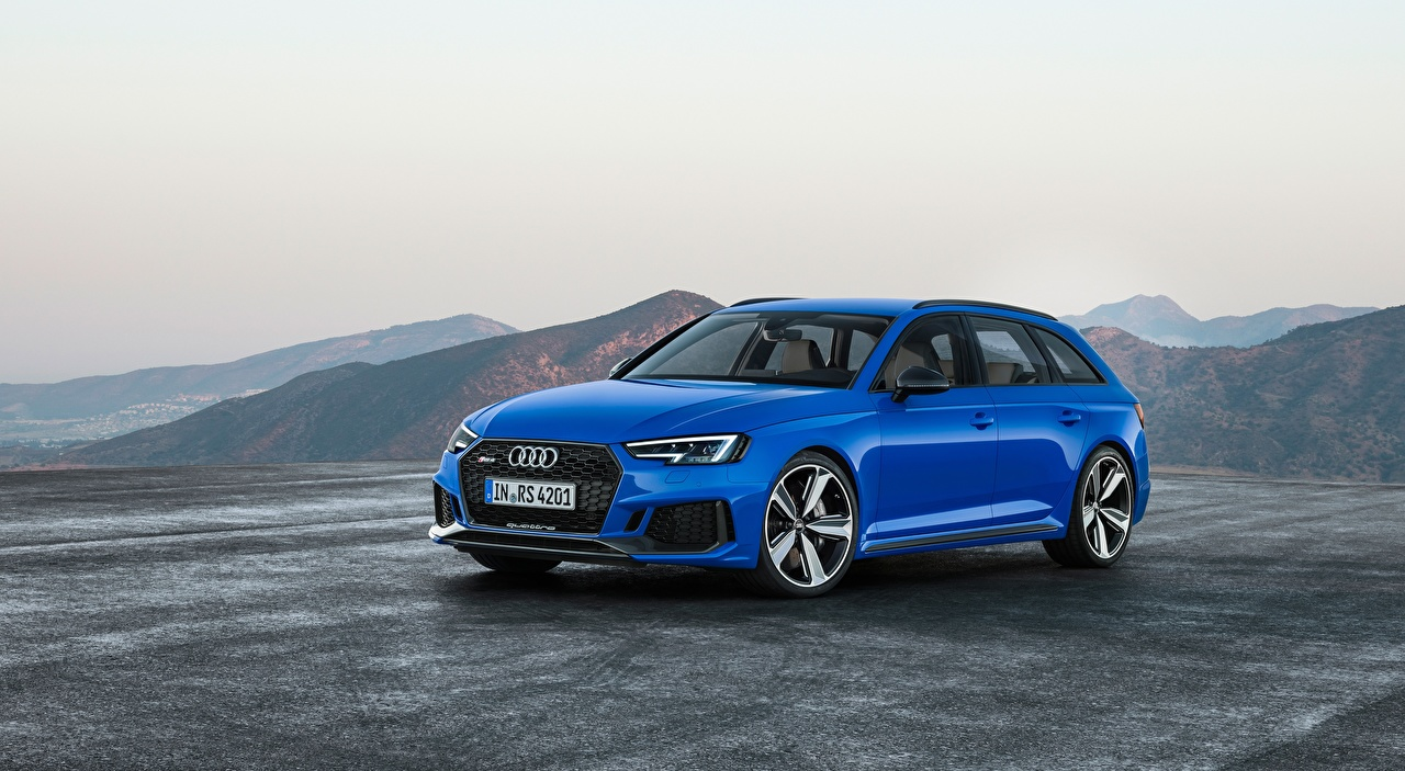 Audi RS4, Avant, 2017 Asfalto Azul Familiar autos, automóvil, automóviles, el carro Coches