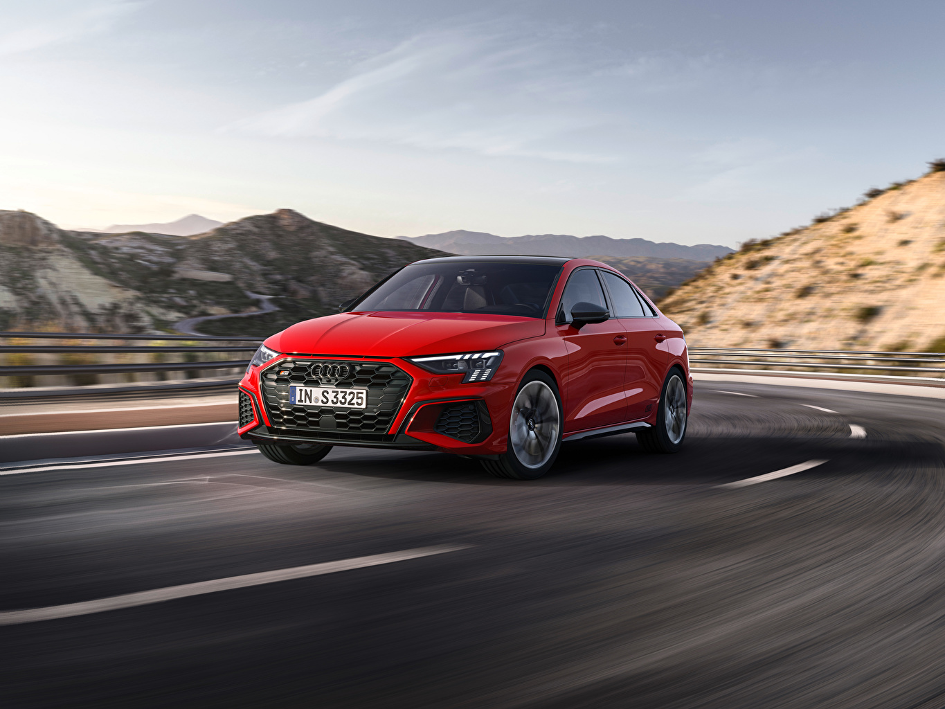 Desktop Wallpapers Audi S3 Sedan, 2020 Red Roads at speed Metallic automobile moving riding Motion driving Cars auto