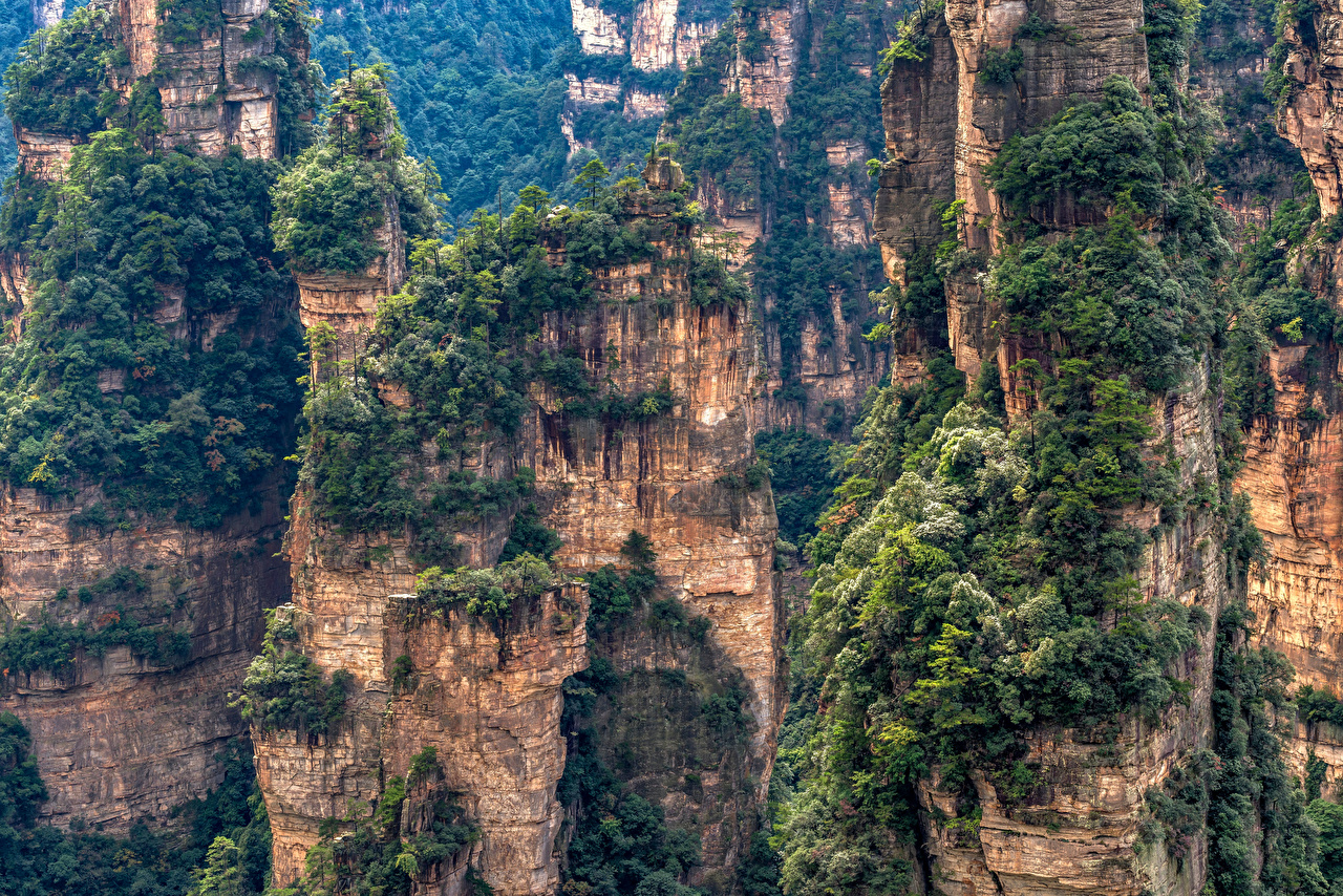 Pictures China Zhangjiajie National Forest Park Crag Nature Mountains Parks Trees Rock Cliff mountain park