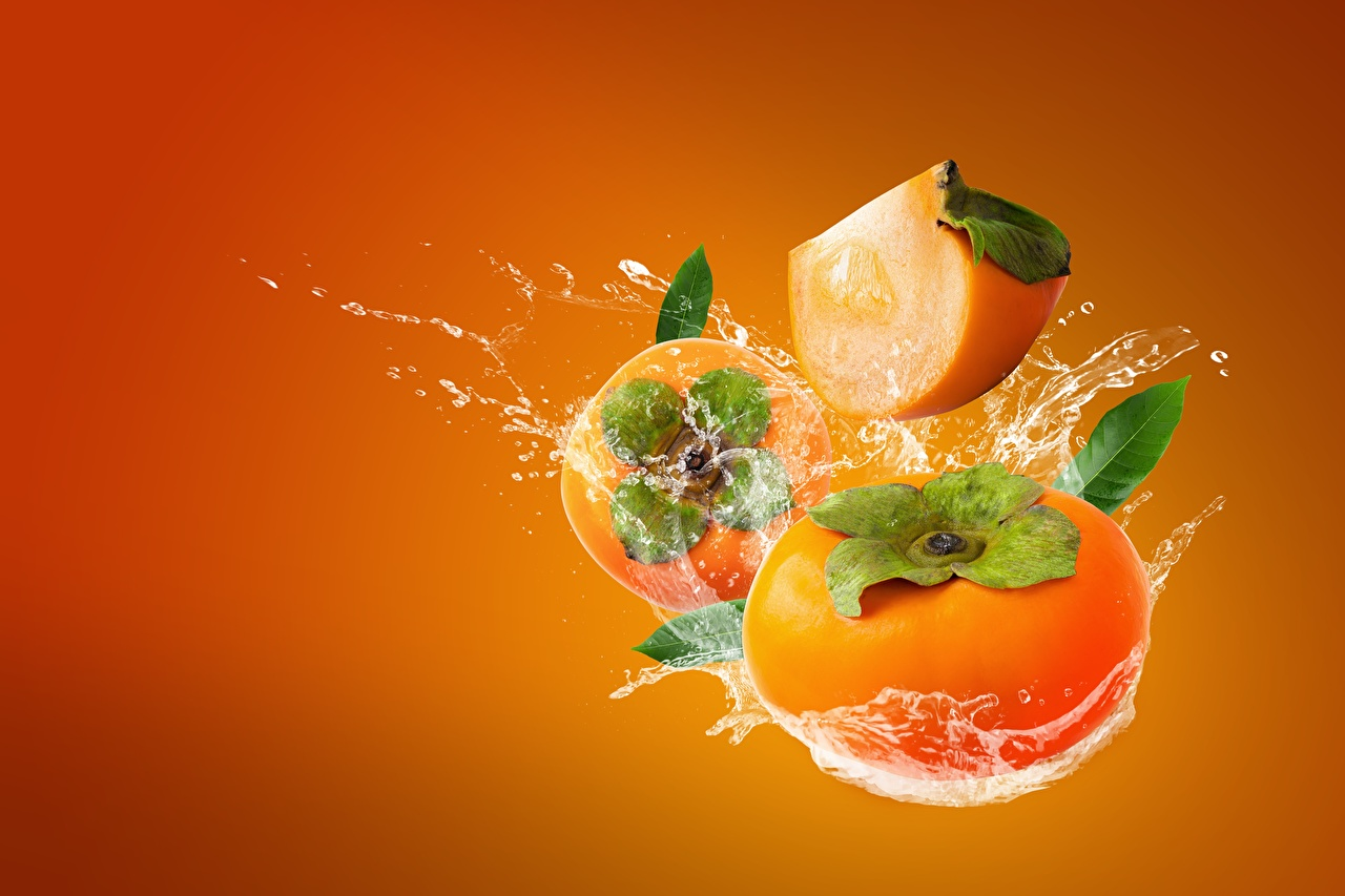 Photo kaki Water splash Food Fruit Colored background Persimmon