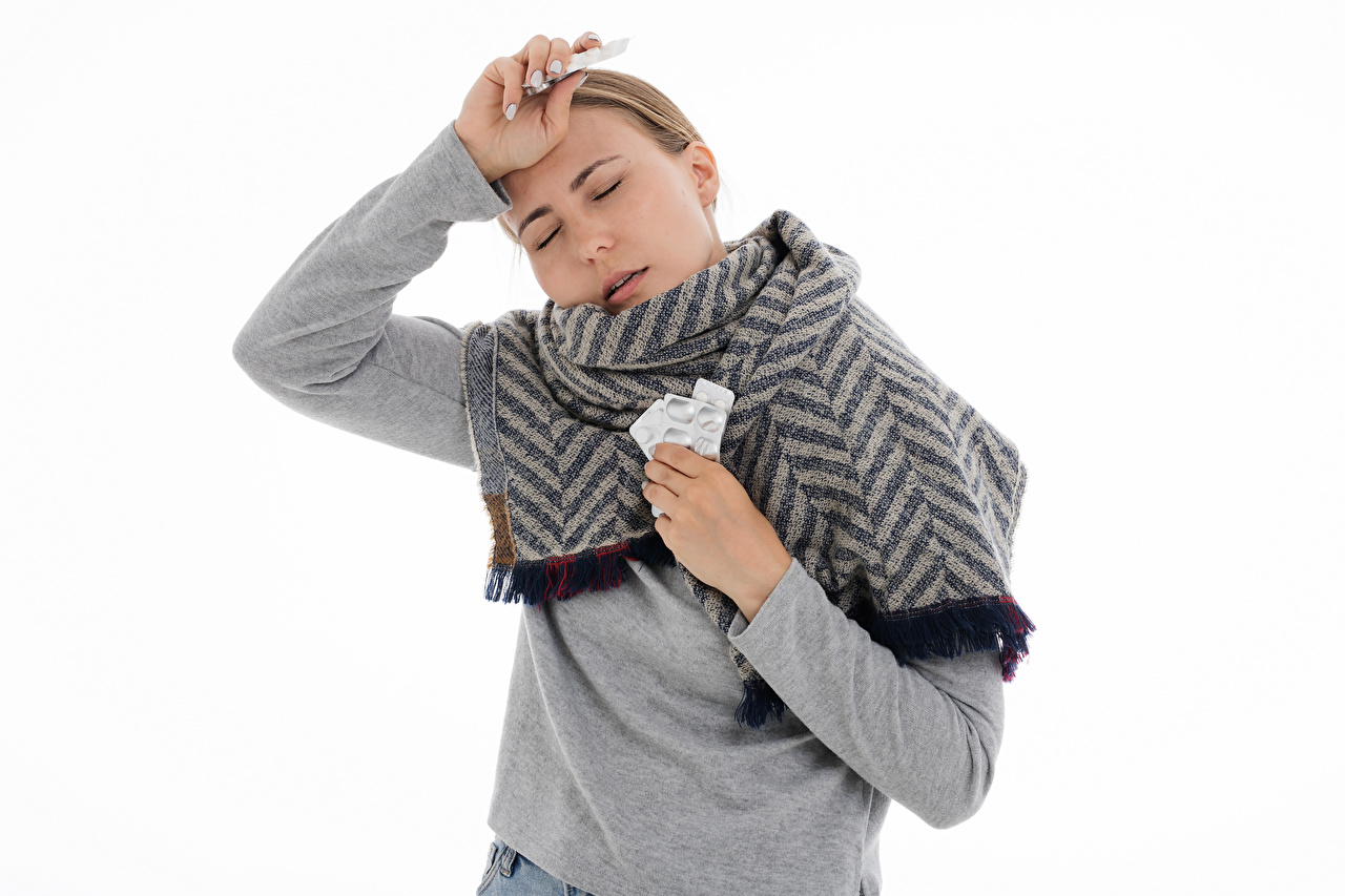 Pictures Scarf sick Pose Girls White background Common cold posing female young woman