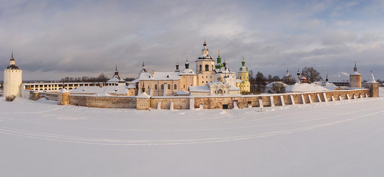 Bilder von Kloster Kirchengebäude Russland Kirillo-Belozersky Monastery (Kirillov) Winter Zaun Schnee Tempel Städte Kirche