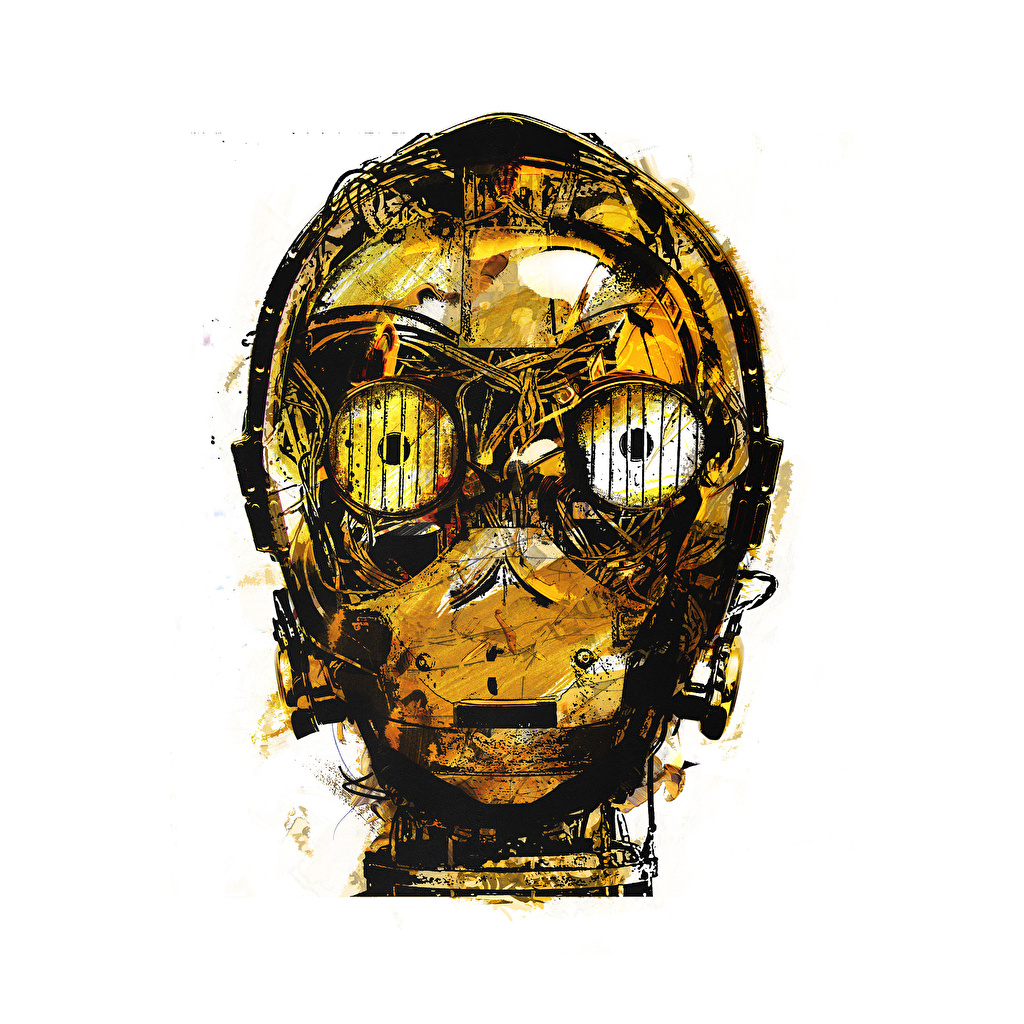 Image Star Wars - Movies Eyes Robot C-3PO Fantasy Gold color Movies Head Closeup White background robots film