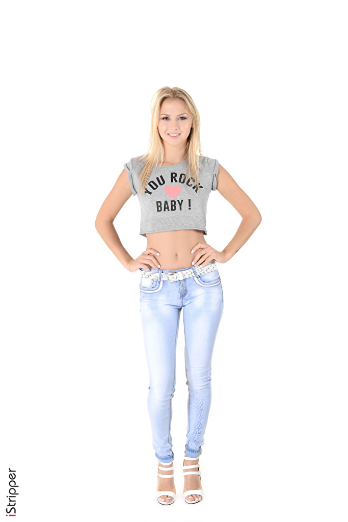 Photo Blonde girl iStripper Kristina T-shirt young woman Legs Jeans Hands White background  for Mobile phone Girls female