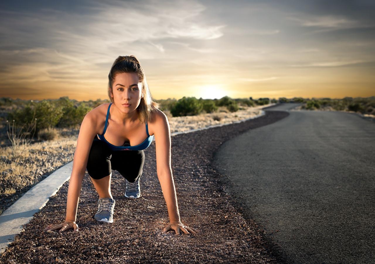Bilder Start Laufsport posiert Fitness Sport Mädchens Straße Blick Lauf Laufen Pose junge frau sportliches junge Frauen Wege Starren