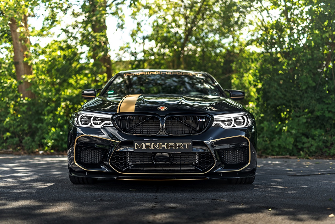 Desktop Wallpapers BMW 2018 Biturbo M5 Manhart V8 F90 MH5 700 Black Cars Front Metallic auto automobile