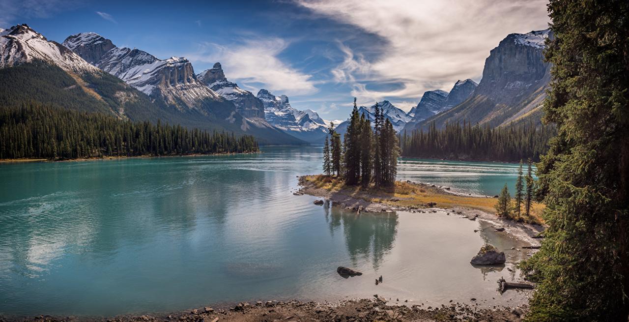 Images Nature Canada Lake Maligne, ALberta Panorama Mountains Scenery mountain panoramic landscape photography