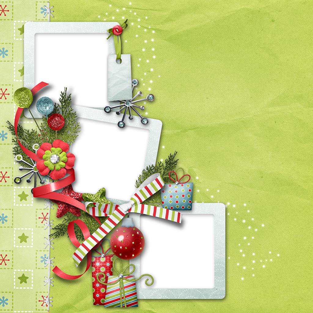 Photo Christmas Balls Ribbon bow knot Branches Template greeting card New year Bowknot