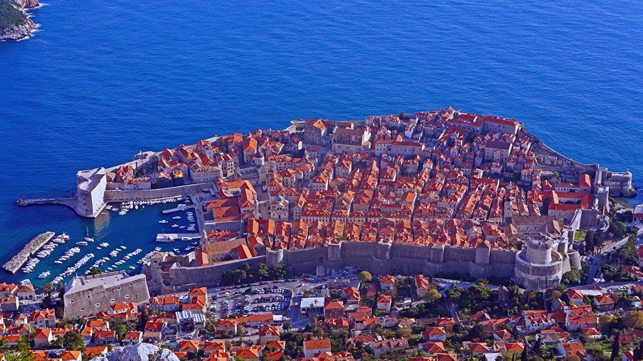 Image Cities Croatia Dubrovnik Building From above Houses