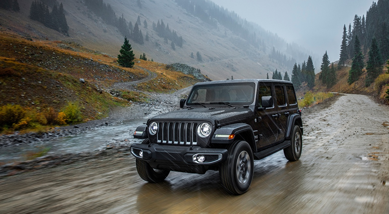 Image Jeep Wrangler, Unlimited Sahara, 2018 Black Rain Motion Cars moving riding driving at speed auto automobile
