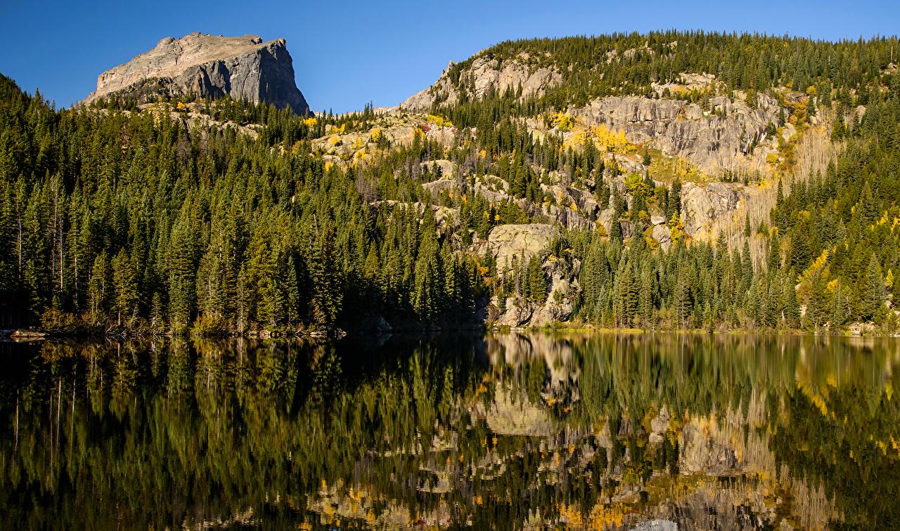Sfondi del desktop USA Bear Lake Rocky Mountain National Park Natura montagna Lago Parco Foreste stati uniti Montagne parchi foresta