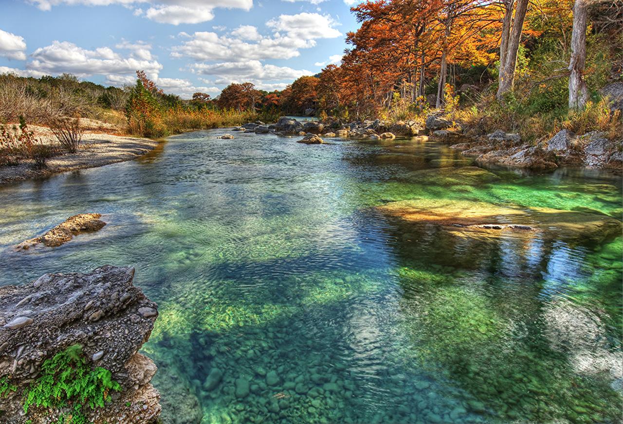 Foto Texas Vereinigte Staaten Frio River Natur Herbst Steine Flusse Bäume USA