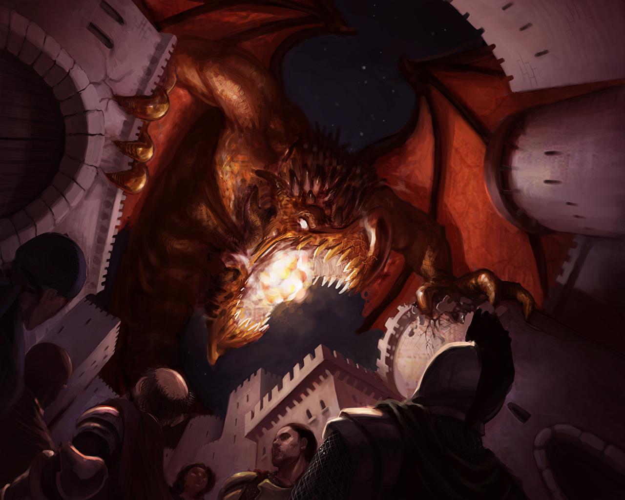 Foto een draak Krijger Burcht Fantasy Vuur Veldslag Draken krijgers vlam de strijd