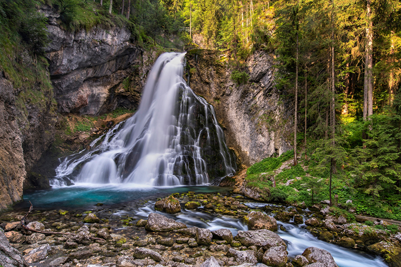 Picture Austria Golling waterfall Nature Waterfalls Forests river Stones Trees forest stone Rivers