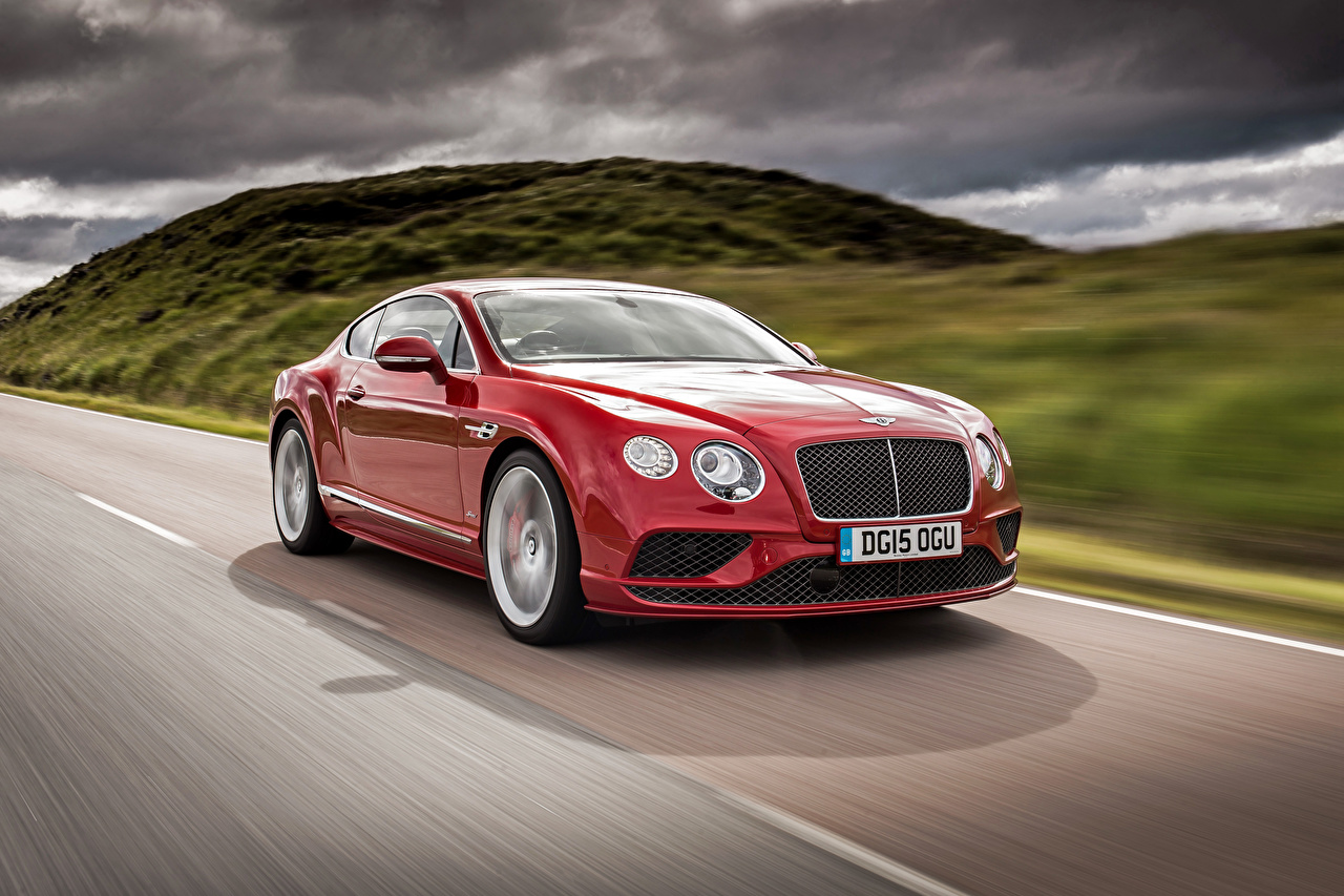 Photo Bentley Continental 2015 Red at speed Cars moving riding Motion driving auto automobile