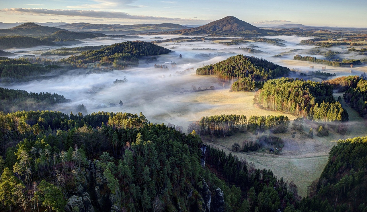 Desktop Wallpapers Czech Republic Bohemian Switzerland National Park Fog Nature Hill park Forests From above Parks forest