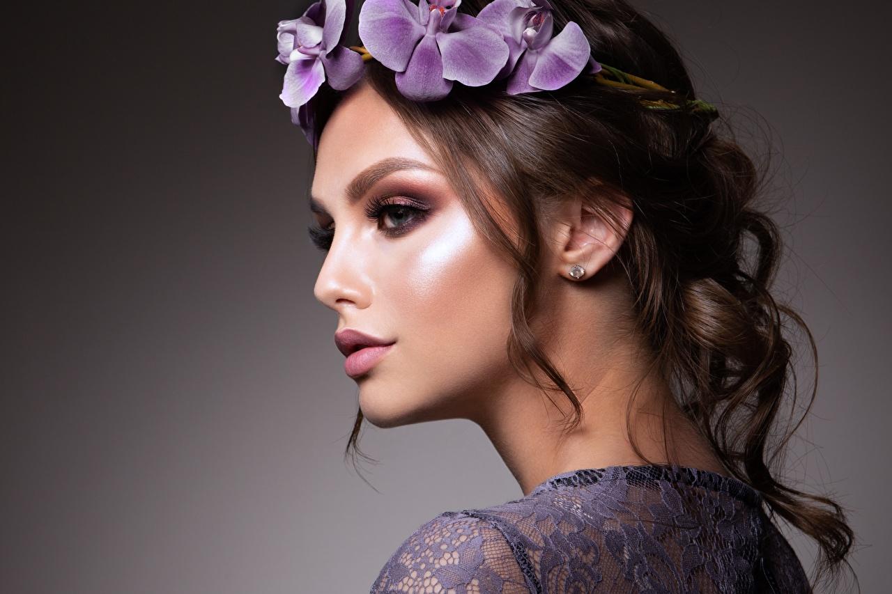 、、茶色の髪の女性、モデル、美しい、化粧、リース、顔、若い女性、少女、
