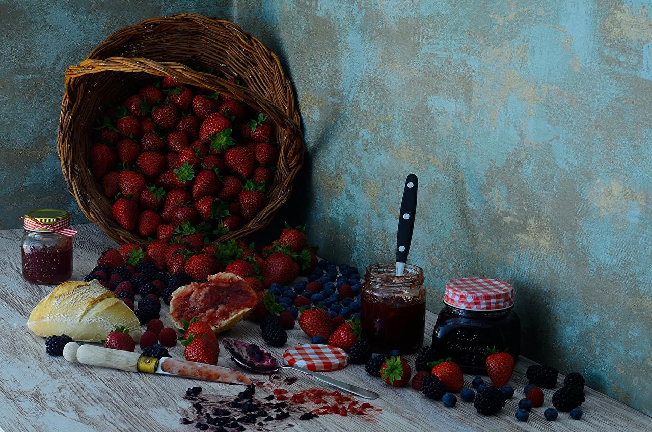 Wallpaper Jam Jar Bread Blackberry Strawberry Blueberries Wicker basket Food Still-life Varenye Fruit preserves