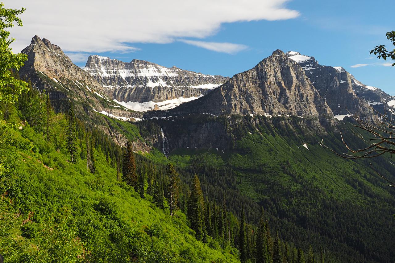 Foto Vereinigte Staaten Glacier National Park Berg Natur Wälder USA Gebirge Wald Parks