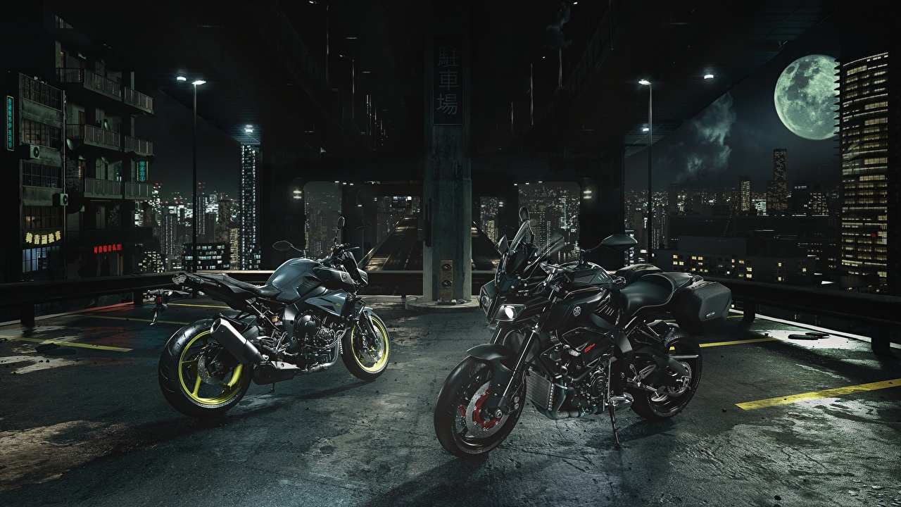 Pictures Yamaha 2016-17 MT-10 Touring Package Two Motorcycles night time 2 motorcycle Night