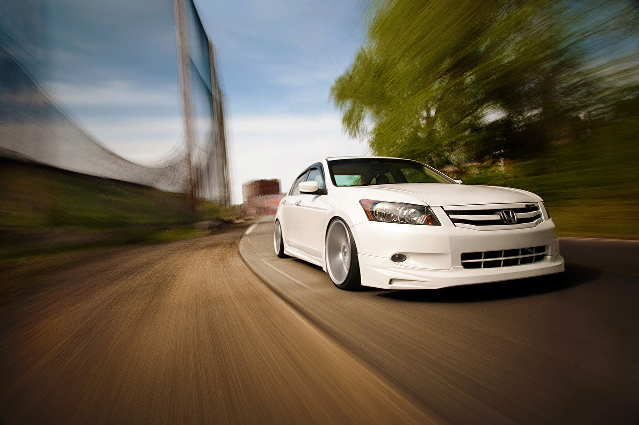 Desktop Wallpapers Honda accord Vossen V6 White Cars Front auto automobile