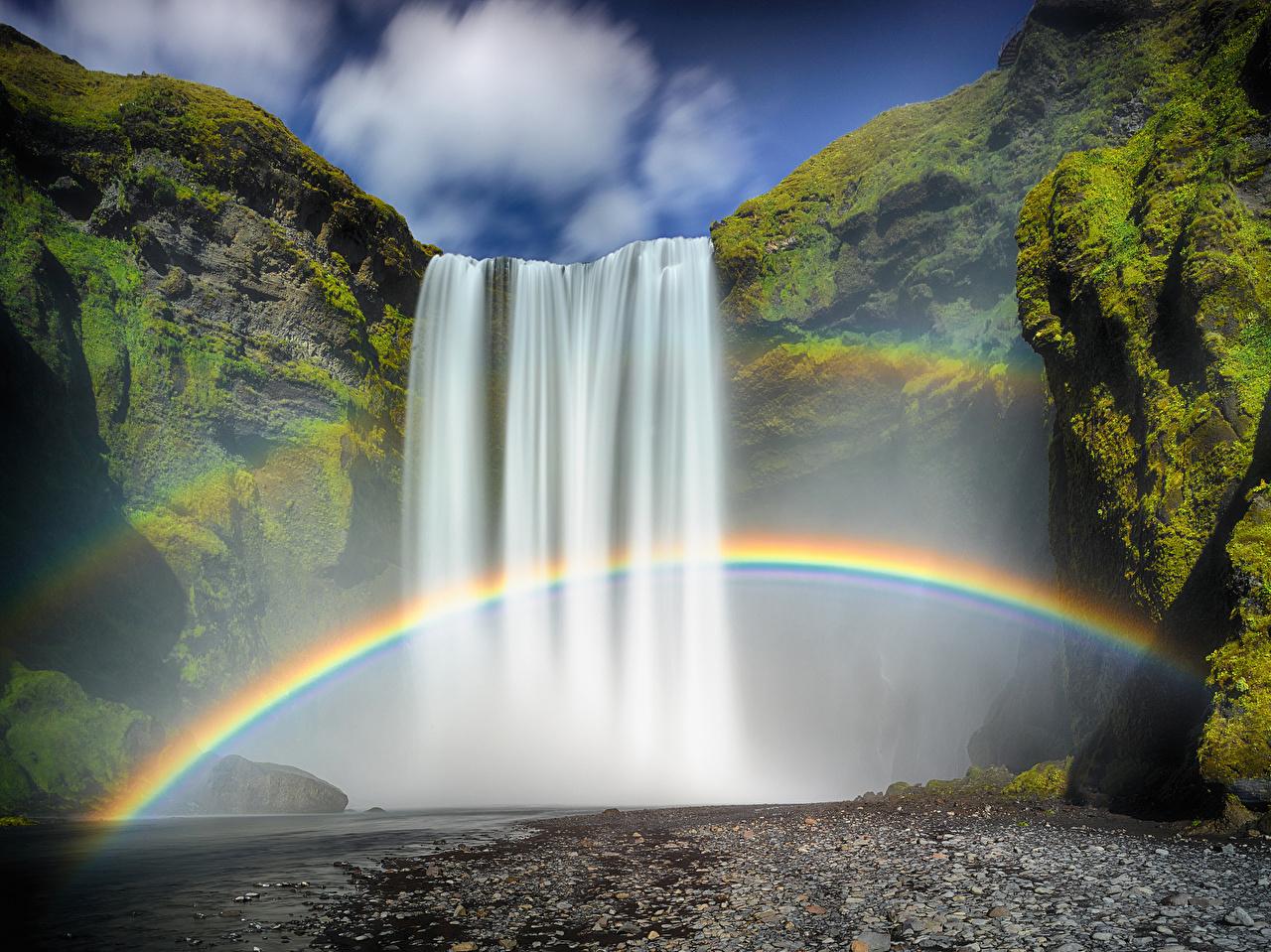 Fonds d'ecran Chute d'eau Islande Arc-en-ciel Nature ...