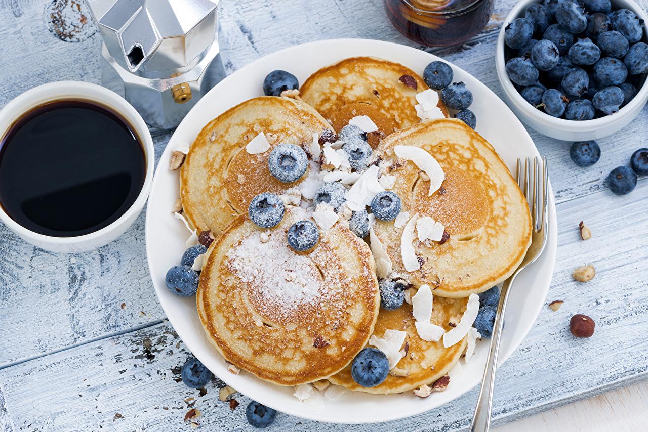 Desktop Wallpapers Coffee Pancake Blueberries Cup Food Plate Pastry hotcake baking