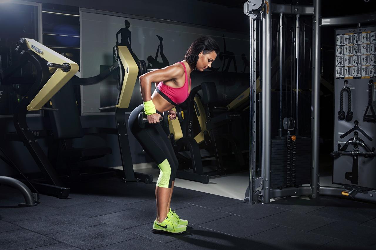 Fotos Trainieren Fitnessstudio Fitness Hantel sportliches junge Frauen Turnhalle Körperliche Aktivität Sport Hanteln Mädchens junge frau